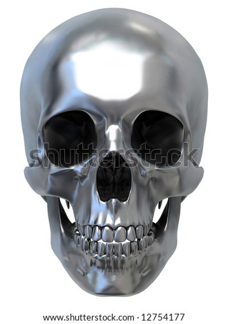 3d render of Metallic Skull. front view