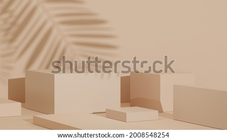 3d render of minimal display podium design for mock up and product presentation. Pedestal stage with pastel color scene. Trendy design Stockfoto ©