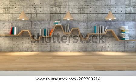 3d render of minimalist shelf