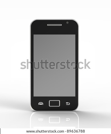 3d render of  mobile phone on a reflecting plane