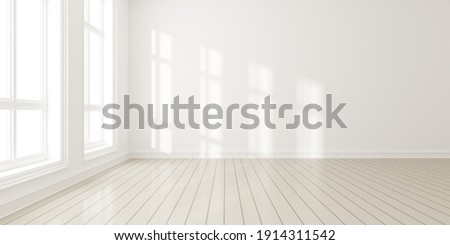3d render of modern empty room with wooden floor and large white plain wall. Stock photo ©