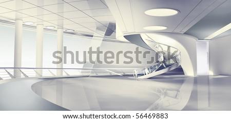 3d render of modern interior - stock photo