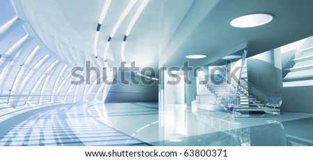 3D render of modern interior toned in cool colors