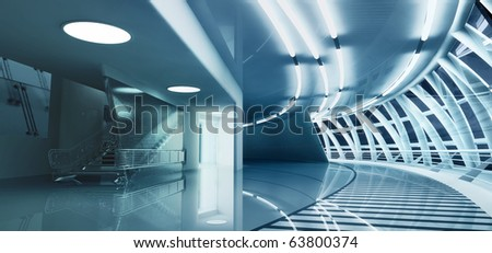 3D render of modern interior toned in cool colors - stock photo
