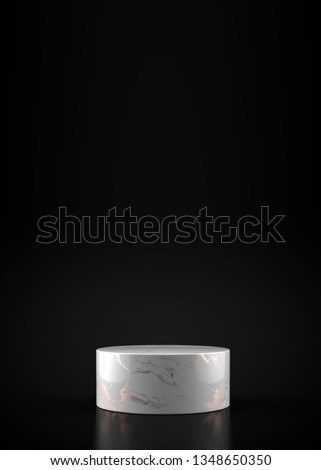 3D Render of Modern Marble Podium. Abstract Composition. Minimal Studio with White Pedestal in Dark Room. Futuristic Interior Backdrop with Copy Space for Landing Page, Showcase, Product Presentation. #1348650350