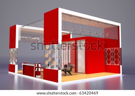3d render of modern red exhibition stand
