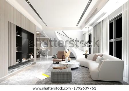 3d render of modern villa house living room