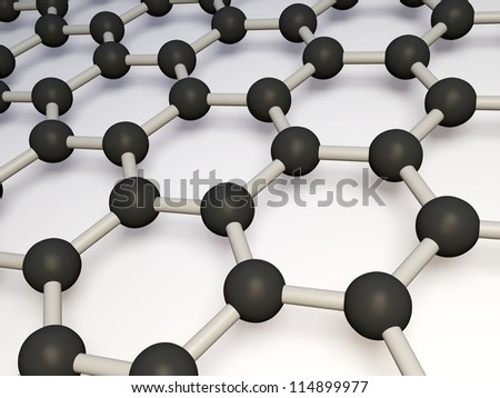 3d render of molecular structure of molybdenum disulphide isolated on a white background