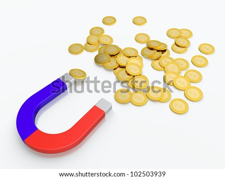 3D render of money magnet with golden coins