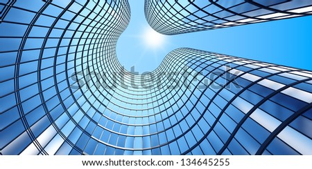 3d render of morning view to perspective glass building