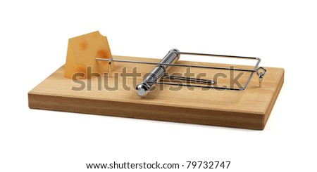 3d render of mousetrap with cheese isolated on white background