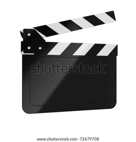 3d render of movie clapper board on white background