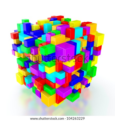 3D render of multi colored cubes on white background