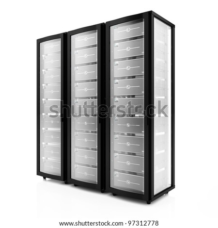 3d render of multiple rack servers on white background