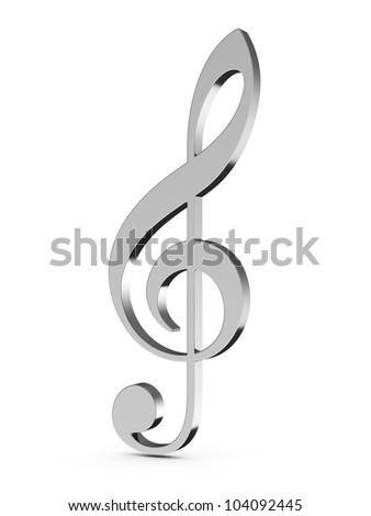 3d render of music key on white background