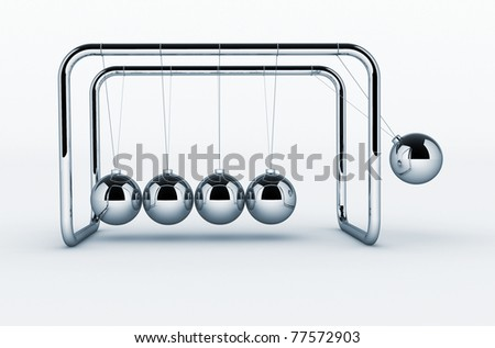 3d render of Newton's cradle on white background - This is a 3d render illustration