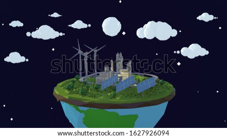 3D render of nighttime starry sky showing cartoon planet with wind turbines and solar planets. Full moon shining down on this low-poly animated scene.