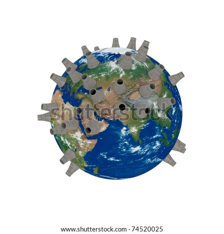 3d render of nuclear power energy Earth isolated on white(clipping path)
