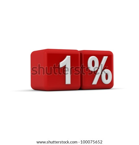 3d render of numerical one percent on bevelled red cubes at a slight angle