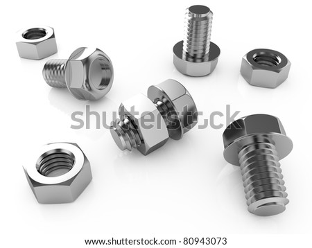 3d render of nuts and bolts isolated on white background