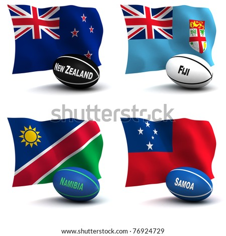 3D Render of 4 of the 20 participating nations in the rugby world cup. Ball colors depict the colors that the team usually wears. New Zealand, Fiji, Namibia, Samoa - see other images for other teams