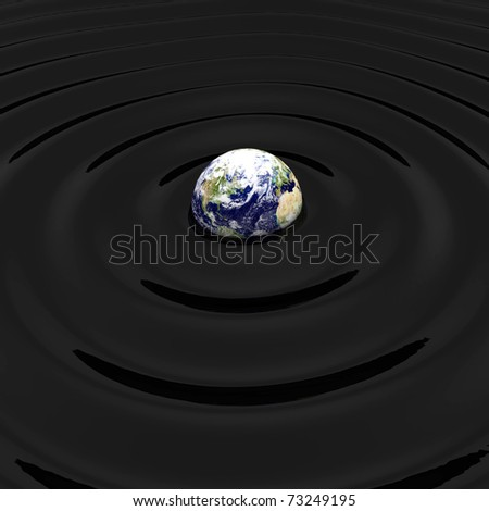 3d render of oil polluted earth concept