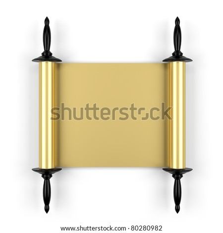 3d render of old gold manuscript isolated on white