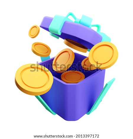 3d render of open gift box suprise, earn point concept, loyalty program and get rewards, isolated on white background