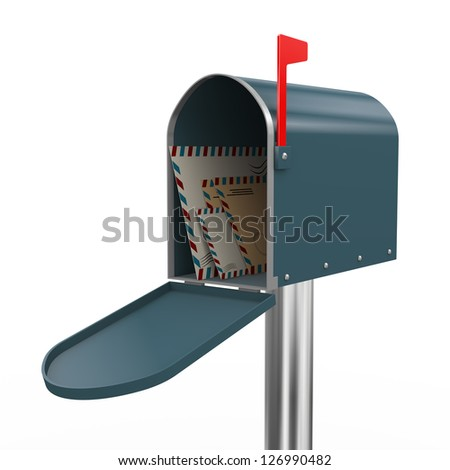 3d render of opened mailbox with envelopes