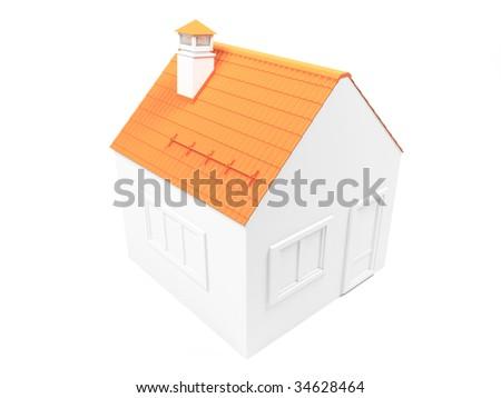 3d Render Of Orange Building - stock photo