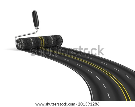 3D render of painting the road with roller brush Road construction concept