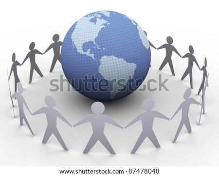 3d render of paper people in a circle around globe