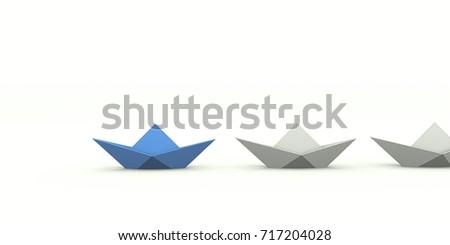 3d render of paper ships #717204028
