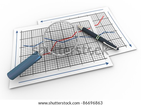 3d render of pen and magnifying glass hovers over business graph papers.