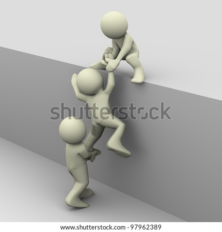 3d render of people helping