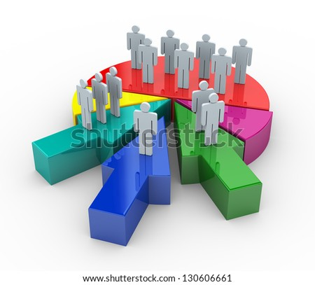3d render of people on reflective pie chart. Concept of companies and business merge and acquisitions - stock photo