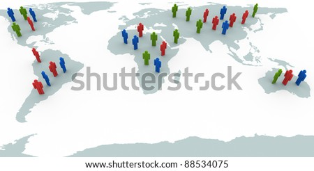 3d render of people standing on world map - stock photo