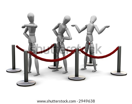 3D render of people waiting in a queue