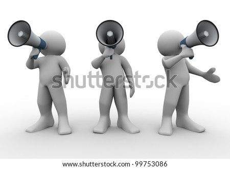 3d render of people with megaphones. 3d illustration of human characters. - stock photo