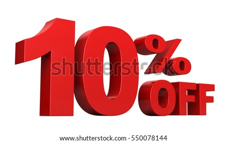 3d render of 10 percent off sale text isolated over white background