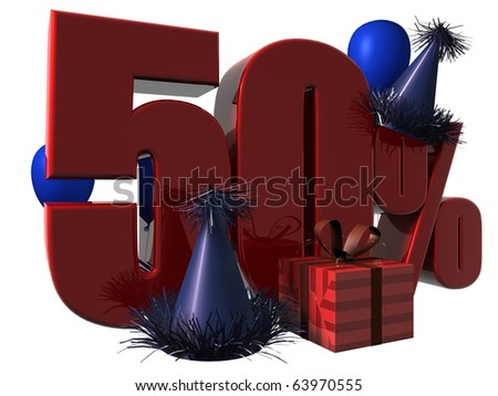 3D Render of 50 percent sale sign with party hats balloons and wrapped gift isolated on a white background