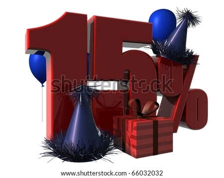 3D Render of 15 percent sale sign with party hats balloons and wrapped gift isolated on a white background