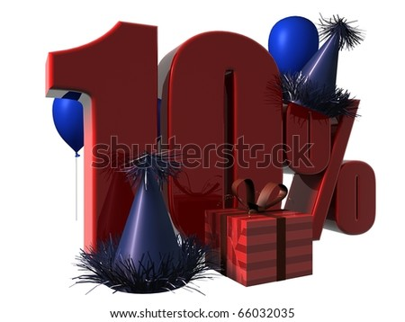 3D Render of 10 percent sale sign with party hats balloons and wrapped gift isolated on a white background