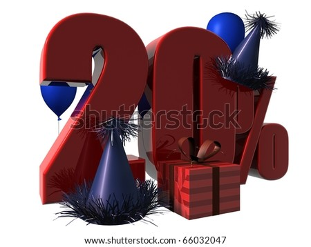 3D Render of 20 percent sale sign with party hats balloons and wrapped gift isolated on a white background