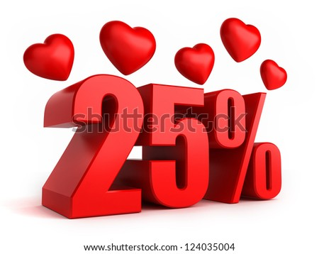 3d render of 25 percent with hearts