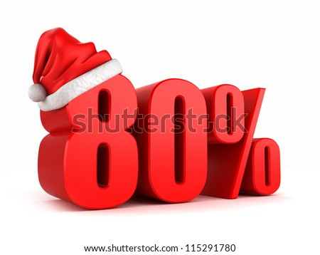 3d render of 80 percent with santa hat