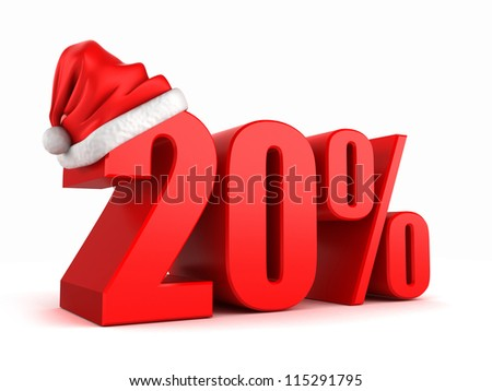 3D render of 20 percent with santa hat
