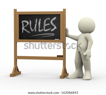 3d render of person with hand written text rules on black chalkboard. 3d rendering of people - human character.