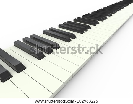 3d render of piano musical keyboard