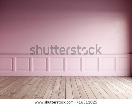 3d render of pink interior with classic panels on wall and natural floor